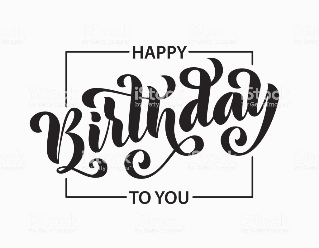 happy birthday hand drawn lettering card modern brush calligraphy vector gm940178216 257030729