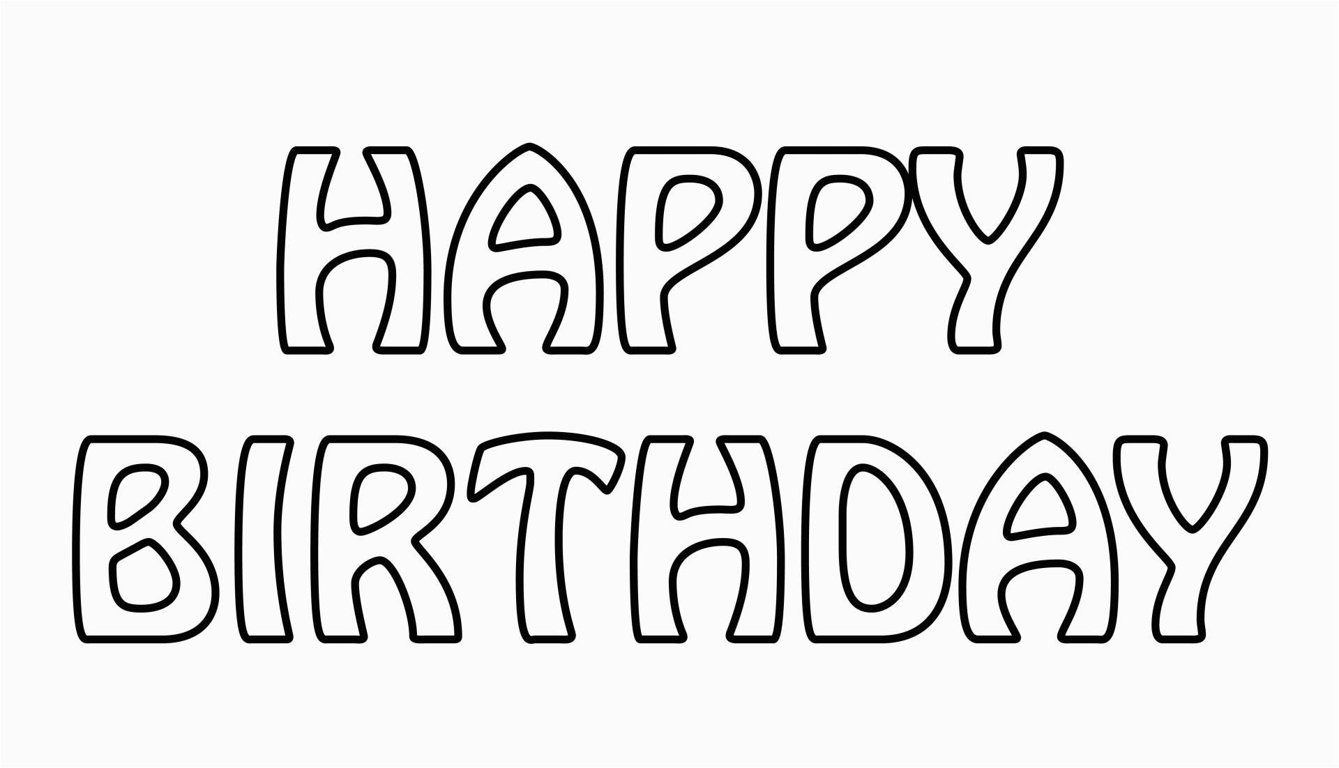 Happy Birthday Banner Clipart Black and White Happy Birthday Text Outline Free Stock Photo Public