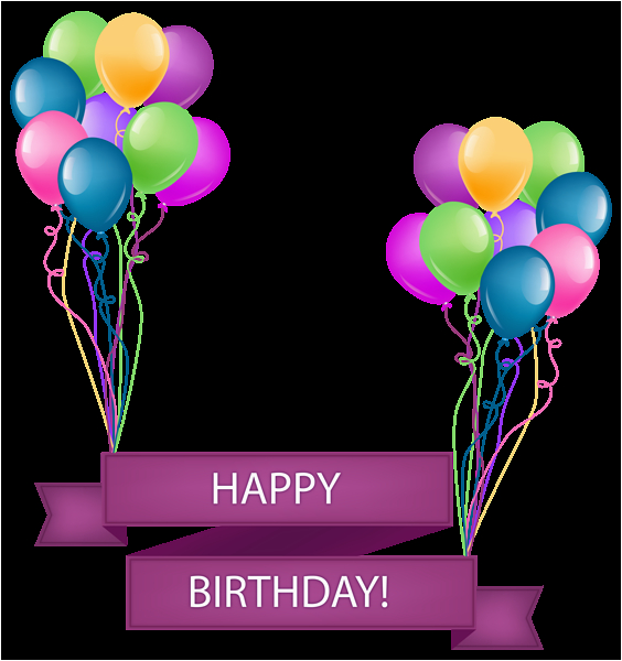 happy birthday banner with balloons transparent png clip art image