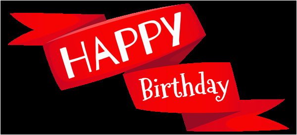 red happy birthday banner png image