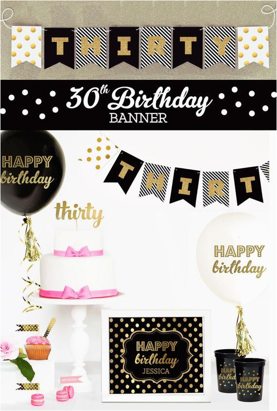 Happy Birthday Banner Creator 30th Birthday Banner 30th Birthday Decor 30th Birthday