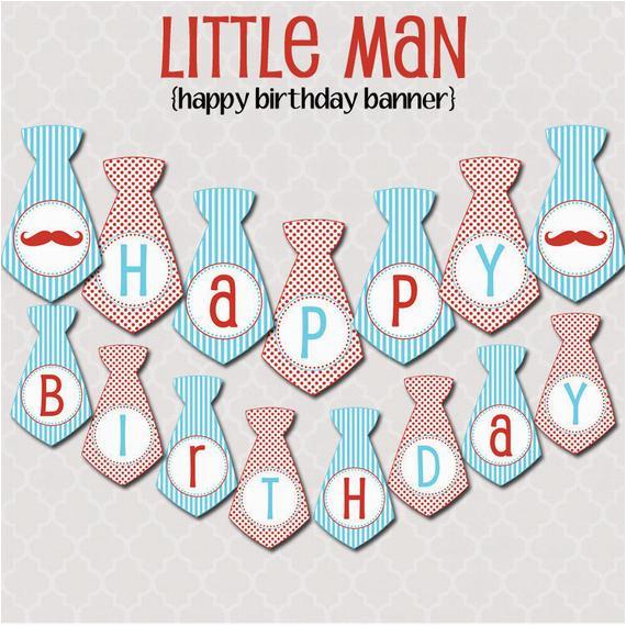 little man happy birthday banner