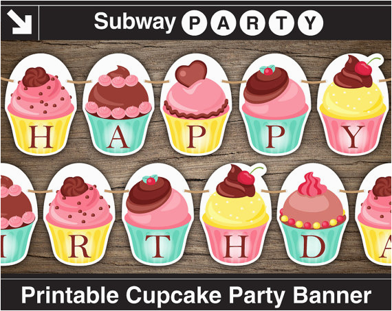 printable cupcake party banner happy