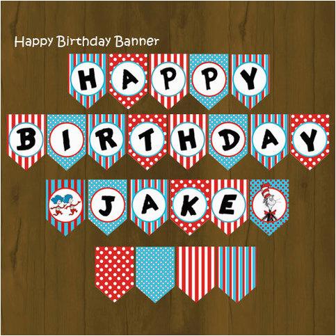 Happy Birthday Banner Diy Printable Dr Seuss Printable Happy Birthday Banner On Storenvy