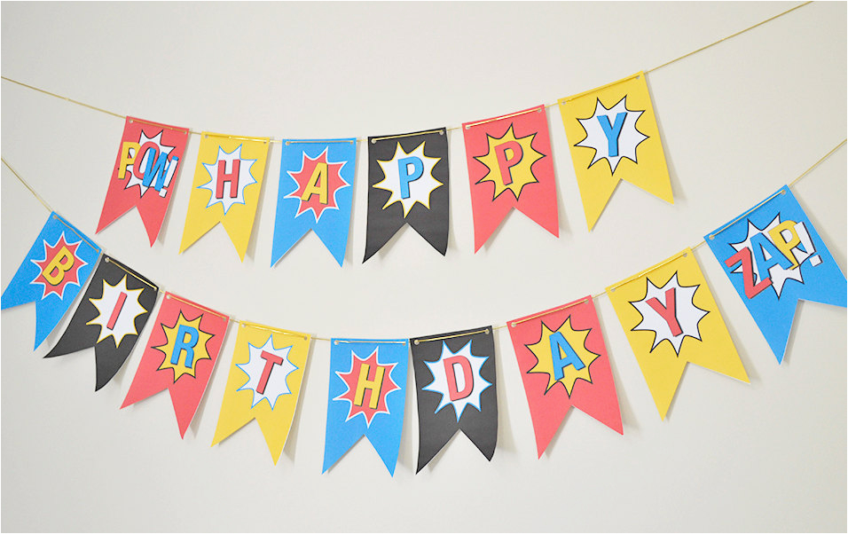Happy Birthday Banner Diy Superhero Happy Birthday Banner Diy Superhero by