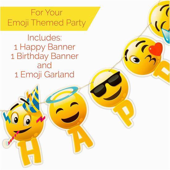 happy birthday banner emoji with garland strip