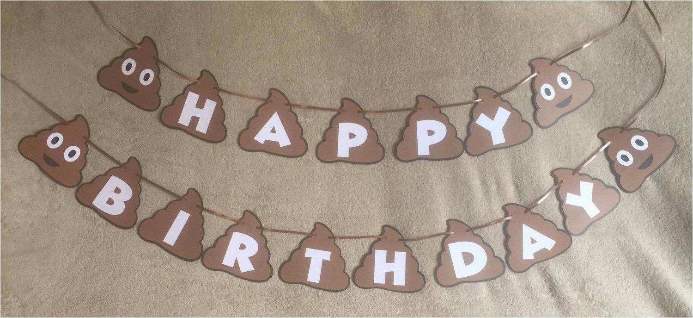 poop emoji happy birthday banner can be