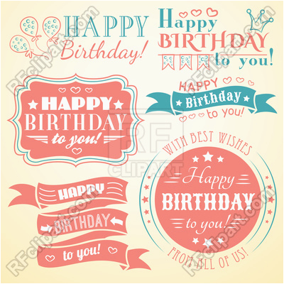 happy birthday retro banners labels greeting cards and frames 40404 vector clipart