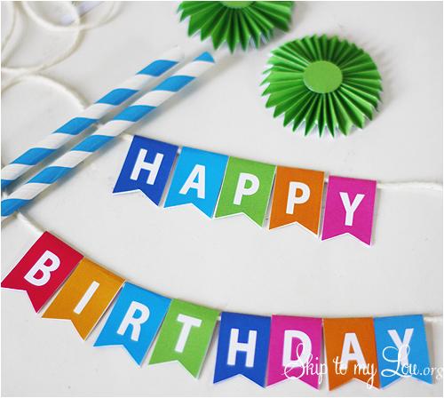 Happy Birthday Banner for Cake Printable Birthday Cake Bunting Skip to My Lou