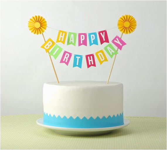 cake bunting cake topper happy birthday