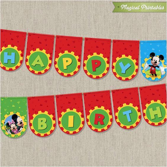 Happy Birthday Banner Free Printable Mickey Mouse Mickey Mouse Clubhouse Birthday Banner Disney Mickey