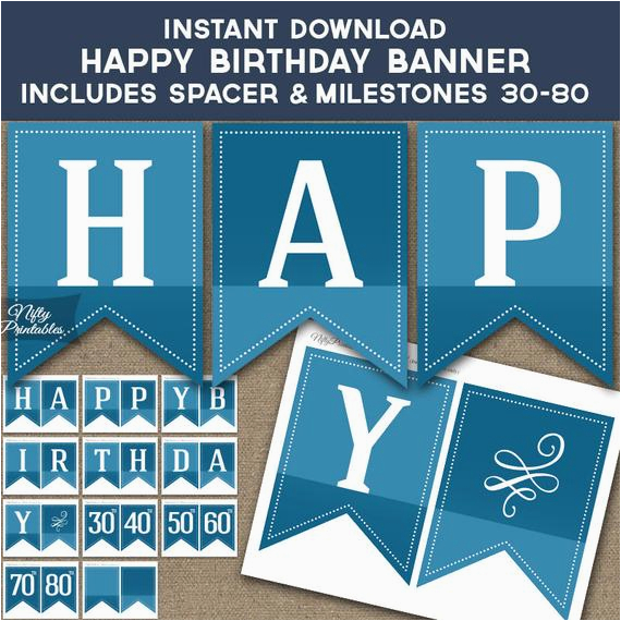 happy birthday banner printable blue