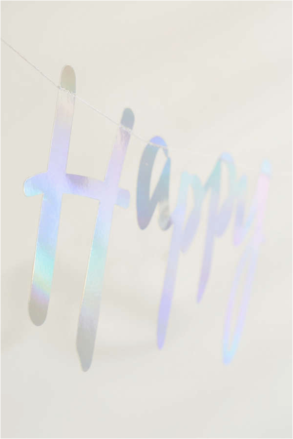 ginger ray iridescent foil happy birthday banner
