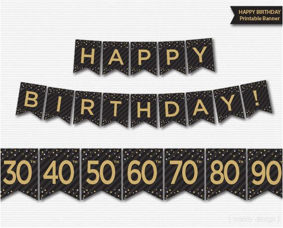 happy birthday banner printable 30th 40th