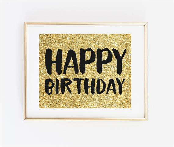 happy birthday sign gold glitter black