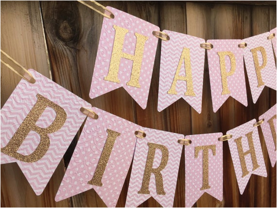pink and gold birthday banner happy