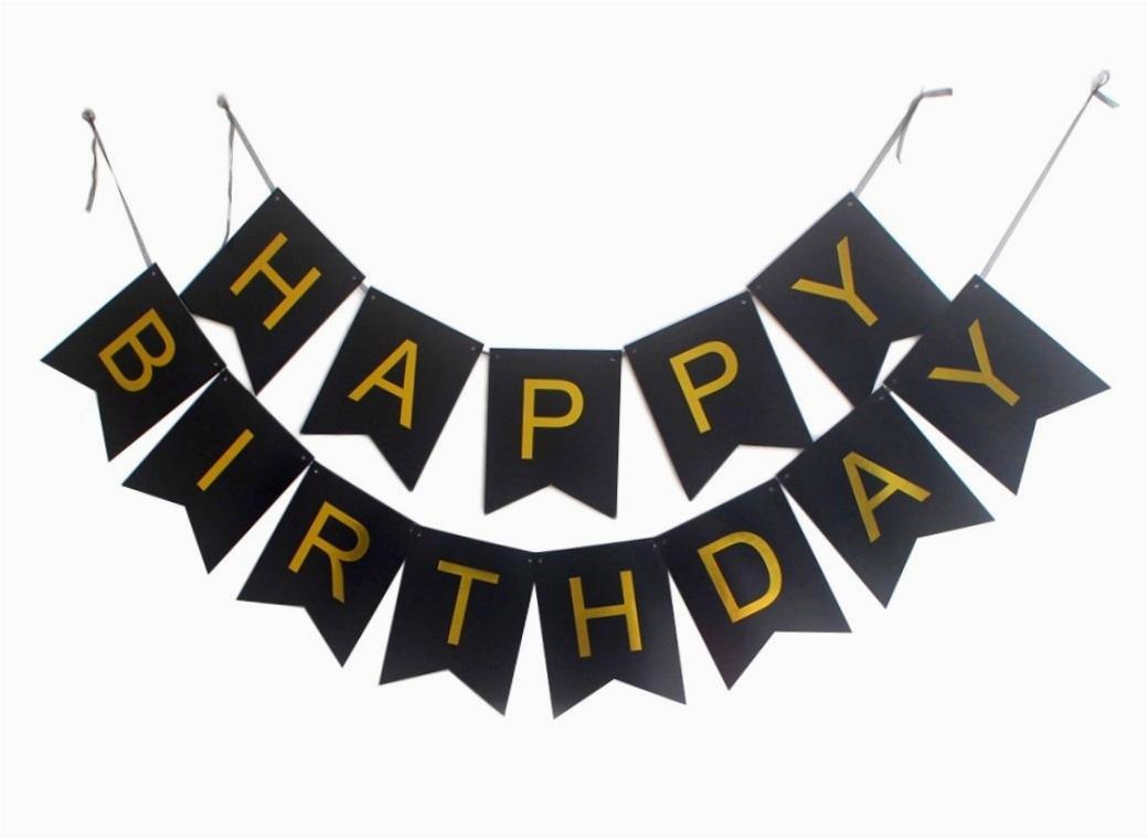 black and gold birthday banner ge15 hta