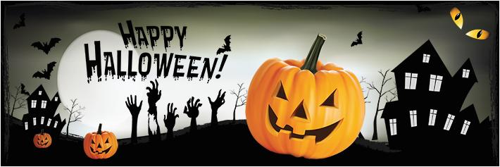 halloween banner pumpkin moonlight theme