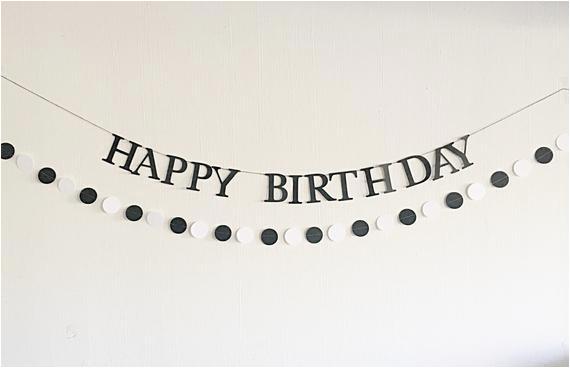 black white happy birthday banner with