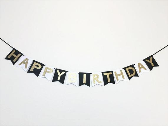 happy birthday banner in black white and