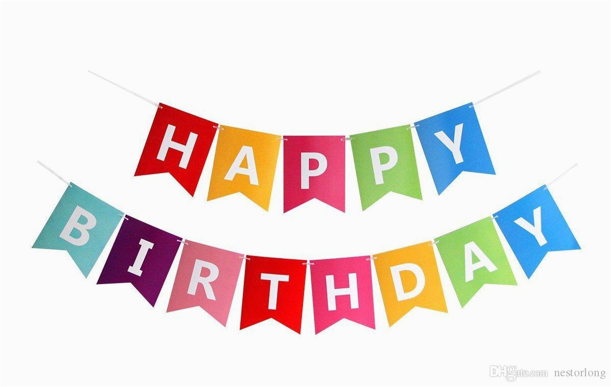 Happy Birthday Banner In Usa 2019 Paper Bunting Garland Banners Flags Happy Birthday