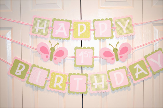 butterfly happy 1st birthday banner