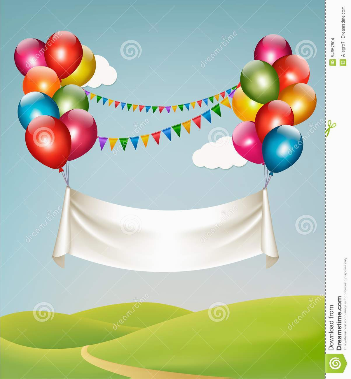 stock illustration happy birthday banner balloons vector image54657804