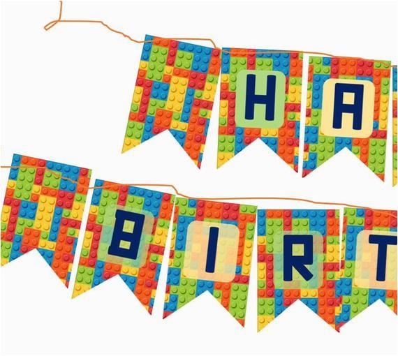 diy happy birthday lego themed banner