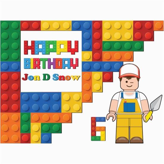 lego bricks happy birthday banner party decoration kids movie large poster print