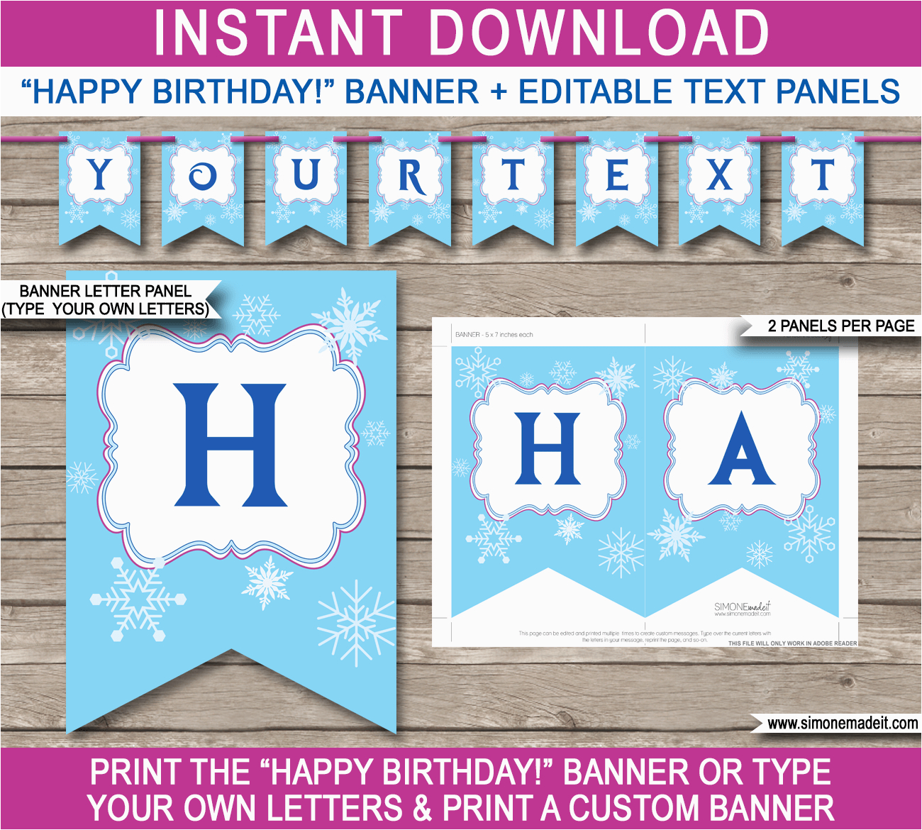 frozen party banner template