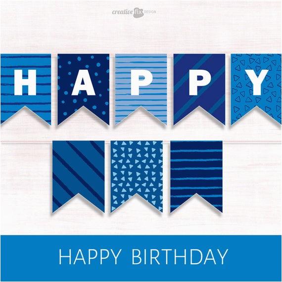 happy birthday banner blue printable