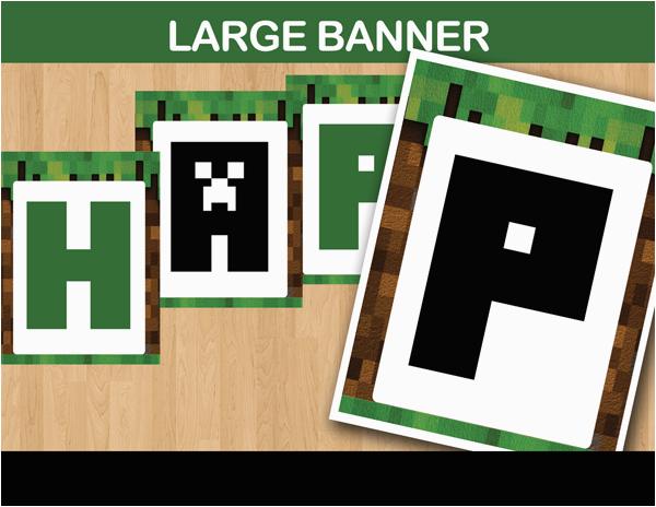 Happy Birthday Banner Minecraft Printable 8 Bit Party Banner Minecraft Party Ideas Instant Download
