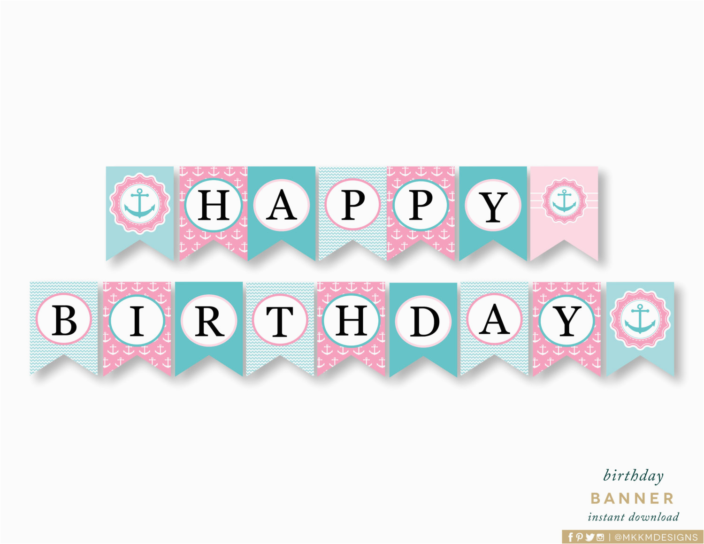 happy birthday banner nautical birthday
