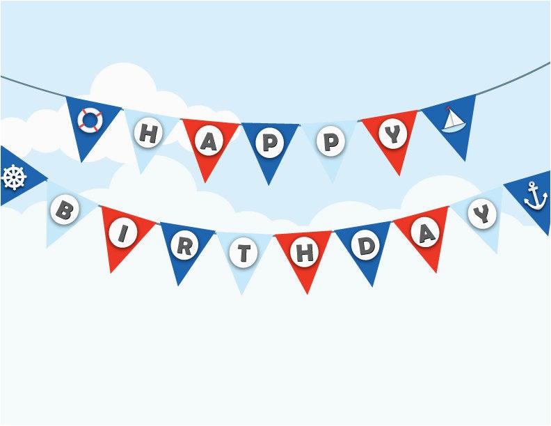 printable nautical birthday bunting