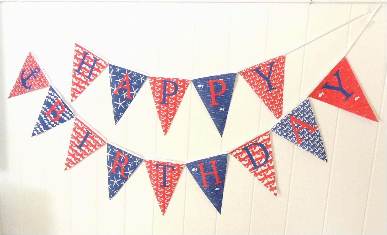 Happy Birthday Banner Nautical theme Nautical Happy Birthday Bunting Happy Birthday Banner Fabric