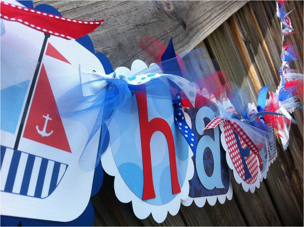 nautical themed happy birthday banner in