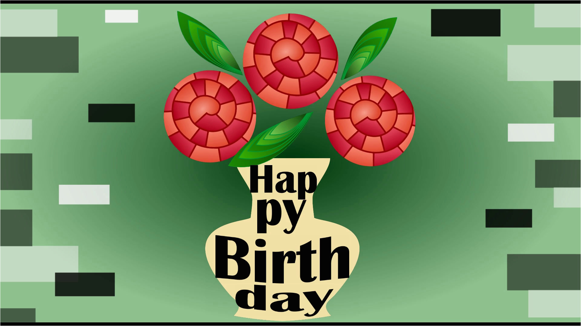 happy birthday animated video banner three red fantasy roses in beige vase on green gradient background bouquet in futuristic design moving letters so3tjlyplj1ci9cu8