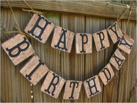 barn wood look birthday banner rustic
