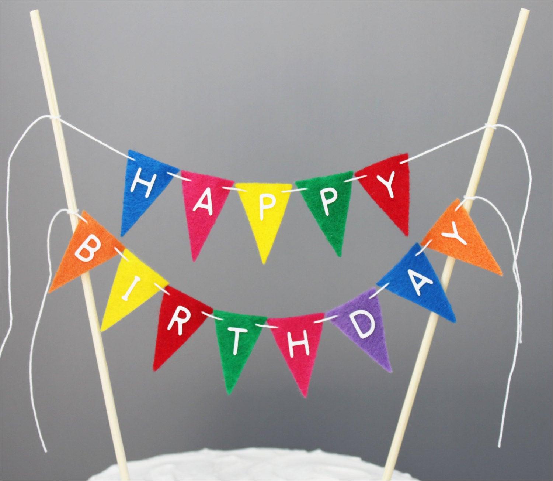 happy birthday cake banner rainbow cake