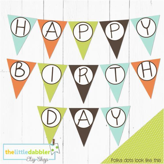 happy birthday banner polka dot orange