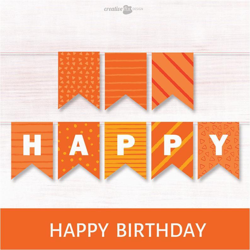 happy birthday orange banner printable