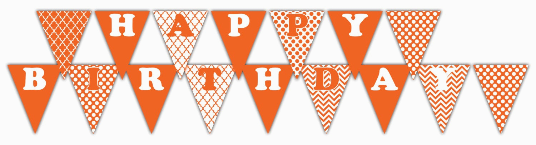 orange happy birthday banner printable