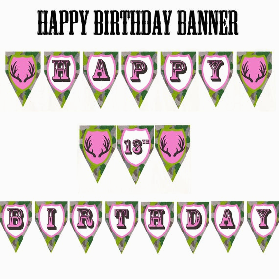 Happy Birthday Banner Outdoor Pink Camo Happy Birthday Customizable Banner by