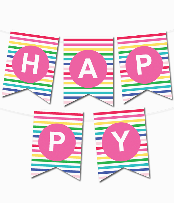 happy stripes pennant banner
