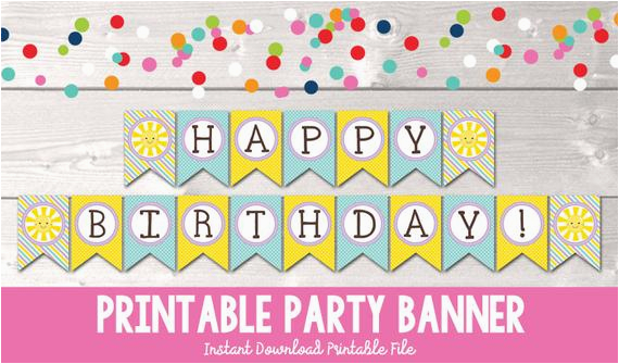 sunshine happy birthday banner instant