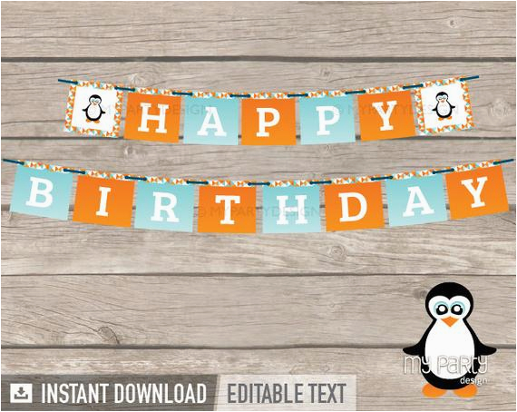 penguin party printable happy birthday banner