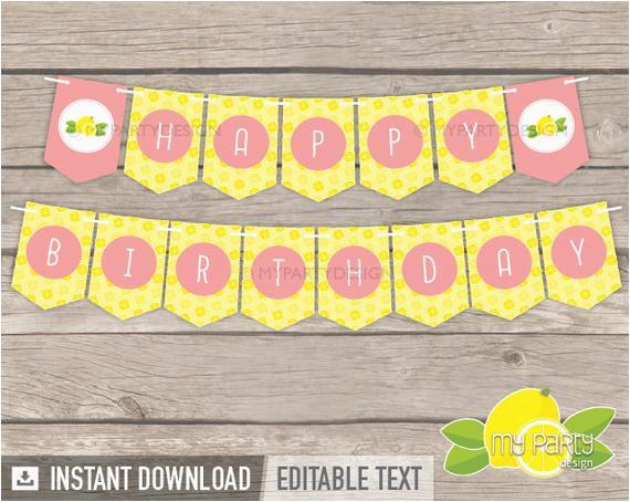 lemonade party printable banner yellow peach