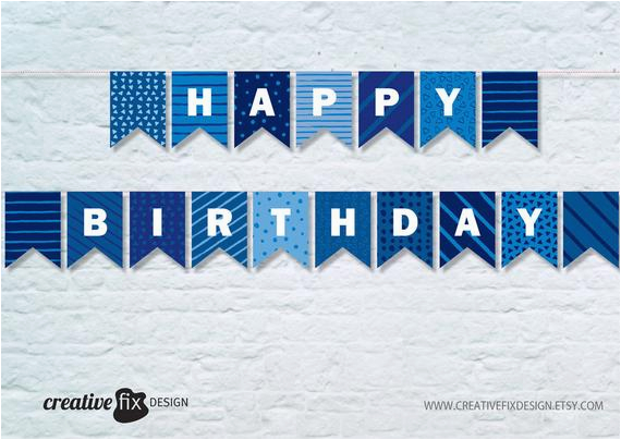 blue happy birthday printable banner