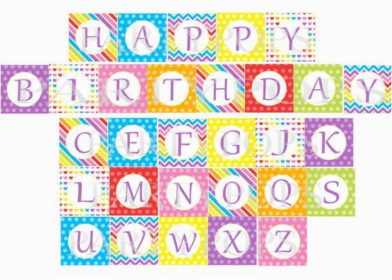 Happy Birthday Banner Per Letter Printable Items Similar to Digital Rainbow Happy Birthday Banner