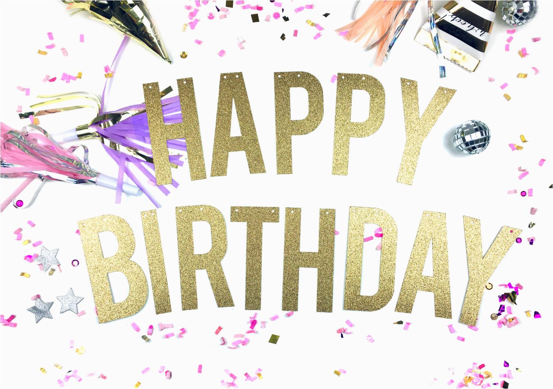 happy birthday banner glitter birthday